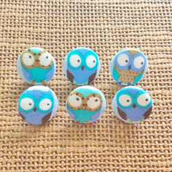 6 x Handmade Fabric Owl Buttons, 14mm. Plastic Shank, Blue, Bird