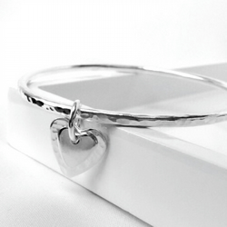 Sterling silver handmade hammered bangle with personalised initial heart charm