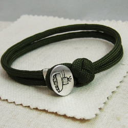 Personalised Sterling Silver Button Paracord Friendship Bracelet