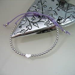 Sterling Silver Heart & Bead Friendship Bracelet - Handmade - Colour Options
