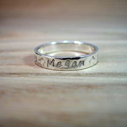 Sterling Silver Personalised Story Stacker Ring
