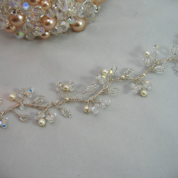 16cm Crystal & Pearl Bridal Hair Vine - Silver or Gold Plated Wire