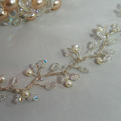 61cm Crystal & Pearl Bridal Hair Vine - Silver or Gold Plated Wire