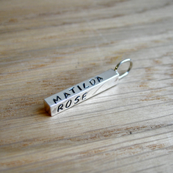 Sterling Silver Chunky Name Bar Pendant Charm - 20mm