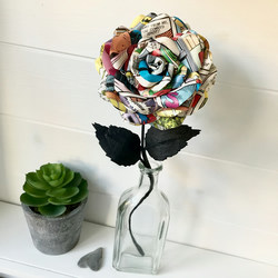 Comic book flower - vintage comic rose  - 1st anniversary gift idea