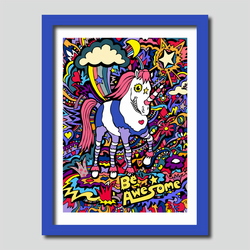 Awesome Unicorn Illustration A3 Art Print