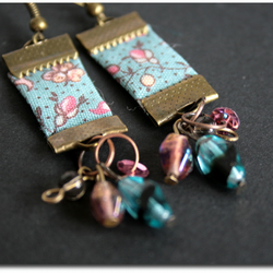 Purple Sky - blue liberty ribbon earrings, glass beads and copper