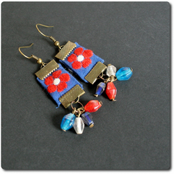 Red, White Textile Floral Earrings - ribbon, glass beads, brass