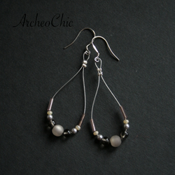 Moon Pearl earrings on sterling SILVER