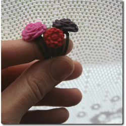 Handcrafted Cabochon Flower adjustable rings - SELECTION of 3 - berries