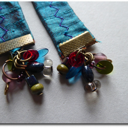 Indian silk, brass and beads dangle earrings