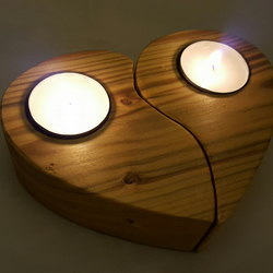 Reclaimed wood two piece heart tealight holder