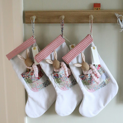 Pre Order - Liberty Patchwork Stocking with baby bunny
