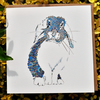 Floral Blue Bunny Greeting card