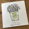 A lovely jam jar of scabious flowers Birthday card