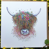 Floral Highland Cow Greeting card