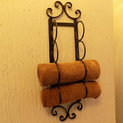 Towel Storage Rack.....................Wrought Iron (Forged Steel) 4 Ring Holder