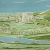 'Lancing College & the South Downs' greetings card, from limited edition linocut