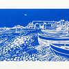 'Worthing Beach and Fishing Boats' greetings card, from limited edition linocut