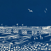 'Worthing Pier II' greetings card, from limited edition linocut