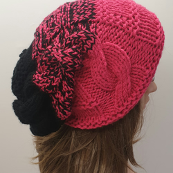 Hand knitted women slouch hat slouchy beanie winter hat