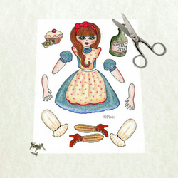 Alice in wonderland articulated paper doll to print. DIY.