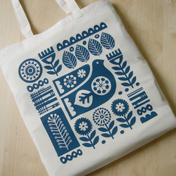 Tote Bag Scandinavian Design Bird Blue Swedish Retro 50s 60s Flower Screen Print