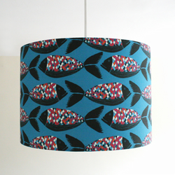 Colourful Scallop Fish Handmade Lampshade - pendant or stand type