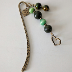 Green Beaded Bronze Metal Bookmark with Heart Charm