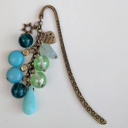 Bronze Metal Bookmark with Re-purposed Turquoise Coloured & Green Beads