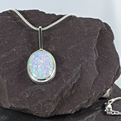 Synthetic opal and sterling silver pendant (055)
