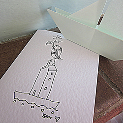 Bird house-boat greeting card from original pen and ink drawing
