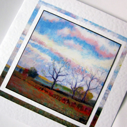Art greeting card Big Sky Autum Dawn from my original painting