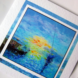 Art greeting card Sea and Boats at Sunset from my original painting