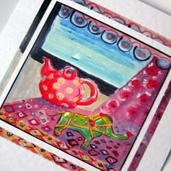 Greeting card Green Elephant and Teapot from my original painting