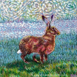 Original painting Golden Hare wildlife animal art