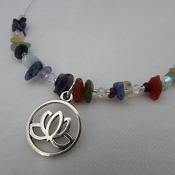 Lotus Flower & Gemstone Necklace. Chakra Jewellery, Chakra Necklace