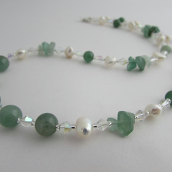 50% off all items with code SALE17 Aventurine & Freshwater Pearl Necklace