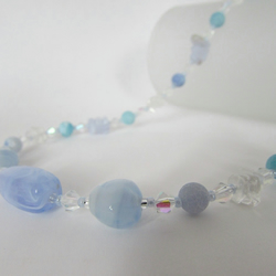 Blue Agate, Crystal Quartz & Sterling Silver Necklace, Agate Jewellery, Blue