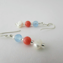 Receive 50% off with code SALE17 Pearl, Blue Quartzite & Pink Coral Earrings