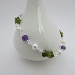 50% off all items with code SALE17 Amethyst, Pearl & Peridot  Bracelet 8.25""