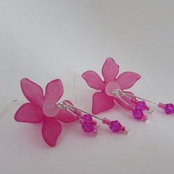 50% off all items with code SALE17 Cerise Pink Flower Earrings, Pink Flower