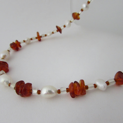 Amber, Freshwater Pearl & Sterling Silver Necklace, Amber Necklace,  Amber
