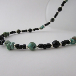 Turquoise, Onyx & Sterling Silver Necklace, Turquoise Necklace, Onyx