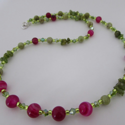 Peridot, Fuchsia Agate & Sterling Silver Necklace, Peridot Necklace, Agate Gift