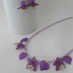 Flower Necklace, Purple & Yellow Flower Necklace & Earrings, Flower