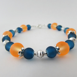 "Dark Blue & Orange Glass Bead Bracelet. 7.25"" Blue Bracelet, Blue & Orange"