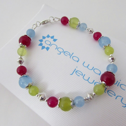 50% off all items use code SALE17 Blue Yellow Olive & Fuchsia Quartzite Bracelet