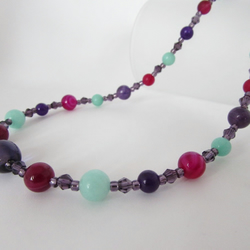 Agate, Amethyst, Quartzite & Sterling Silver Necklace, Gemstone Necklace