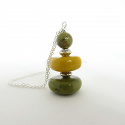 Unakite & Square Bead Necklace, Unakite Earrings, Unakite Jewellery, Mustard